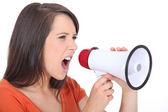 Angry woman screaming in speakerphone — Stock Photo