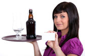Female waitress, holding tray of beer and business card — Stock Photo