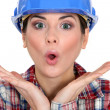 Shocked female worker - Stock Photo
