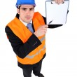 Building inspector with a clipboard — Stock Photo