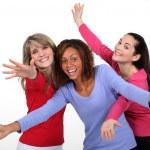 Three excited women — Stock Photo