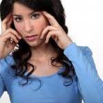 Женщина с головной болью — Стоковое фото