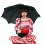 Shocked woman with umbrella — Stock Photo #9783736