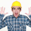 Stock Photo: Frightened tradesman