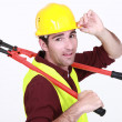 Construction worker with boltcutters — Stock Photo