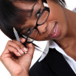 Businesswoman wearing glasses — Stock Photo #9788301