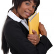 File clerk hugging a folder — Stock Photo