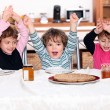 Kids excited by pancakes — Stock Photo
