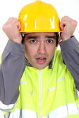 Scared builder — Stock Photo