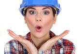 Shocked female worker — Stock Photo