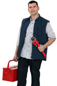 Plumber equipped for any job — Stock Photo