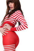Woman in red and white tights — Stock Photo
