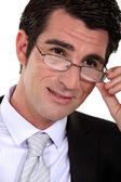 Closeup of a businessman wearing glasses — Stock Photo