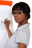Woman writing on flip-chart — Stock Photo