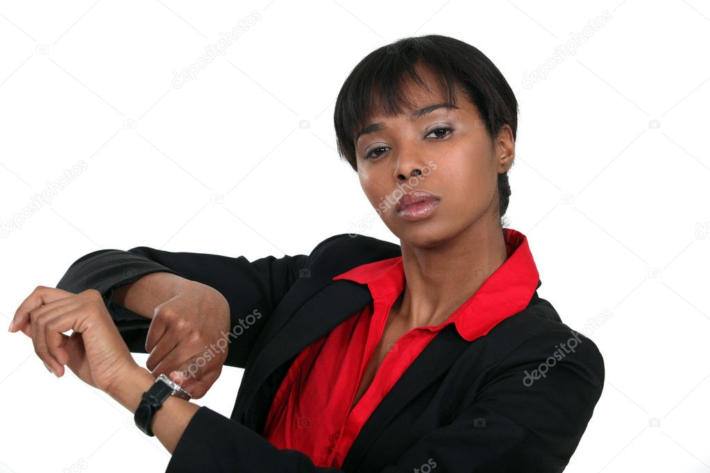 A female boss reminding the time. — Stock Photo #9788564