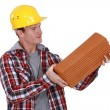 Stock Photo: Roofer holding pile of tiles