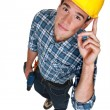 Young construction worker with a drill — Stock Photo