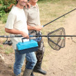 Father and son on fishing trip — Stock Photo