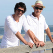 Father and son stood at the pier — Stock Photo