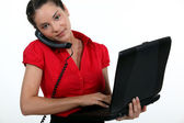 A busy businesswoman. — Stock Photo