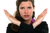 Woman with hands clasped — Stock Photo