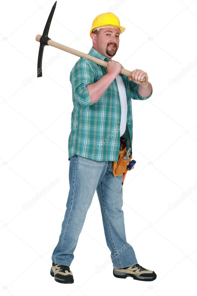 Man wielding pick-ax — Stock Photo #9807767