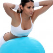 Gymnastics with blue balloon — Stock Photo
