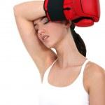 Tired female boxer — Stock Photo