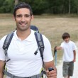 Father and son hiking - Stockfoto