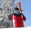 Rear shot of male skier - Stock Photo