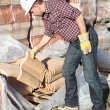 Tradesman lifting shingles - Stock Photo