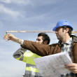 Foreman and worker on a site — Stock Photo