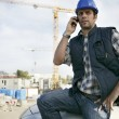 Stock Photo: Construction foreman arriving in to work