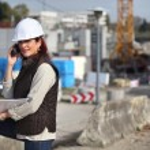 Female architect on site — Stock Photo #9816491