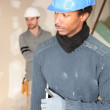 Two men carrying plaster board — Stock Photo