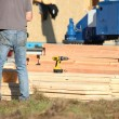 Construction work with planks of wood — Stock Photo