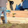 Stock Photo: Construction work with planks of wood