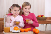 Two sisters drinking orange juice in kitchen — Stock Photo