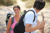 Hiking with a partner — Stock Photo