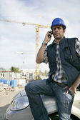 Construction foreman arriving in to work — Stock Photo