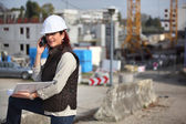 Female architect on site — Stock Photo
