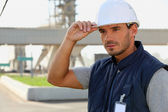 Foreman stood by industrial park — Stockfoto