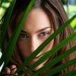 Woman hiding behind plant leaves — Stock Photo