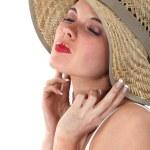 Woman wearing straw hat — Stock Photo