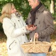Royalty-Free Stock Photo: Couple picking chestnuts