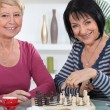 Two old friends playing chess — Stock Photo