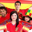 Stock Photo: Group of Spanish soccer fans
