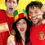 Three Spanish football fans — Stock Photo #9826932