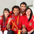 Four Spanish sports fans — Stock Photo #9827042