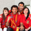 Four Spanish sports fans — Stock Photo
